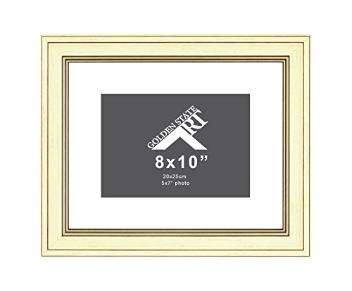 Golden State Art, 8x10 Frame for 5x7 Photo with White Mat, Table-Top Easel Stand, Real Glass (Cream Shabby Chic) (Ivory Shabby Easel Chic)