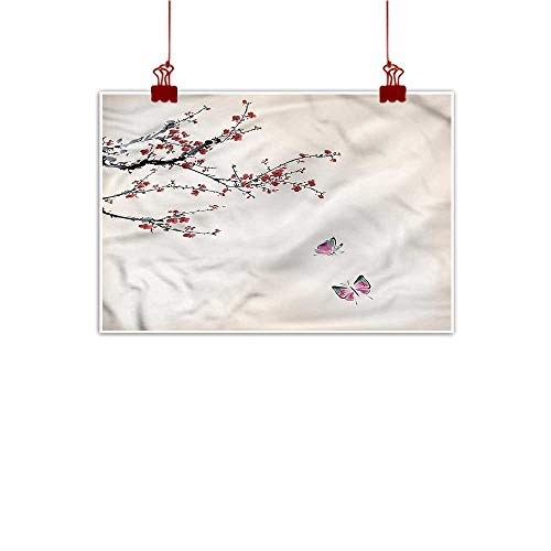Wine Cherry Bar Hill (Mangooly Decorative Art Print Watercolor Flower,Cherry Blossom 20