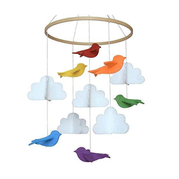 Baby Crib Mobile by Sorrel & Fern -Rainbow Birds & Clouds- Felt Nursery Ceiling Decoration for Girls & Boys