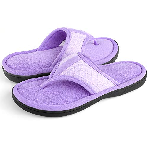 Women's Cozy Memory Foam Plush Gridding Velvet Lining Spa Thong Flip Flops Clog Style House Indoor Slippers(Large / 9-10 B(M) - Terry Foam