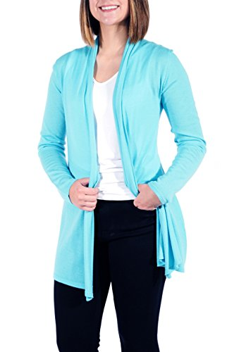 Gigi Reaume 100% Cashmere Women's Sweater, Open Front Long Cardigan, Swing Style, Ultra Lightweight (Small, Aqua) by Gigi Reaume