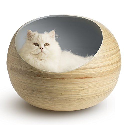Fhasso Luxury Bamboo Cat Bed – Eco-Friendly, Natural, Handmade Cat Cave Bed with Washable Velvet Cushion – Enclosed…