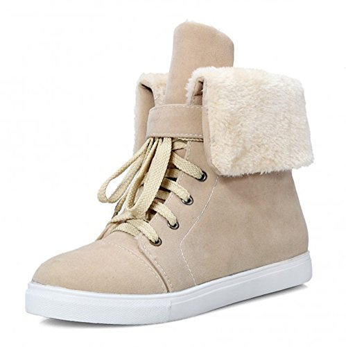 Snow Aisun Boots Lace Toe Comfy Women's Round Platform Flat Warm Booties Beige Ankle Up Shoes qrwqgvB