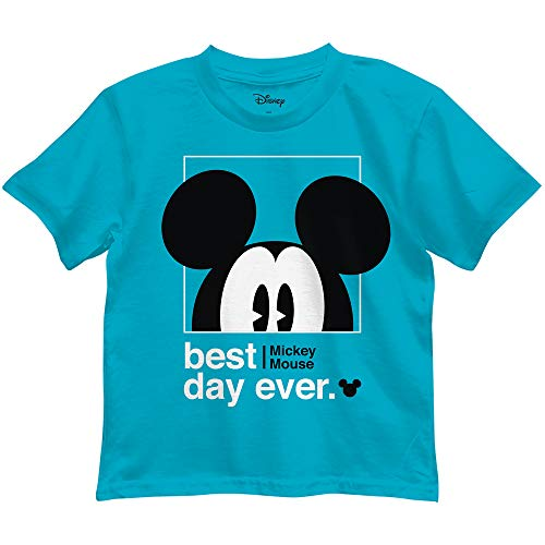 Disney Mickey Mouse Best Day Ever Toddler Youth Juvy Kids T-Shirt (5/6, Turquoise)