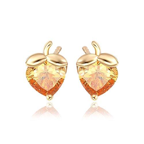 Multi Heart Baby Ring - Windshow Heart Cut Multi Colors Crystal Strawberry Fruit Stud Earrings for Children Baby Girls (Orange)