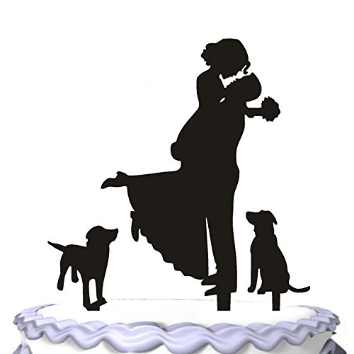 Meijiafei Wedding Cake Topper- Bride Hold Groom With Flowers Besides Two Pet Dogs Cake Decoration