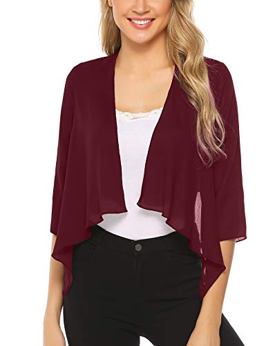 Abollria Chiffon Cardigan for Women 3/4 Sleeve Open Front Cover Ups Wine Red