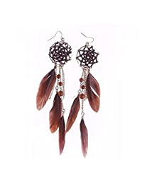 Abeillo Bohemia Dream Catcher Elegant Retro Alloy Tassel Feather Beads Long Earrings