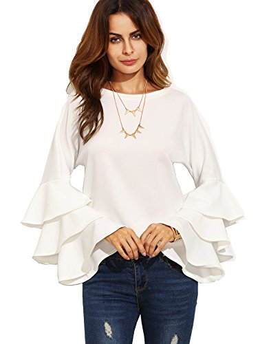 Tiered Sleeve Top (SHEIN Women's Round Neck Ruffle Long Sleeve Blouse - White X-Small)