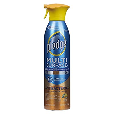 pledge Multi-Surface Spray Antibacterial Wood Polish, Citrus, 9.7 Ounce