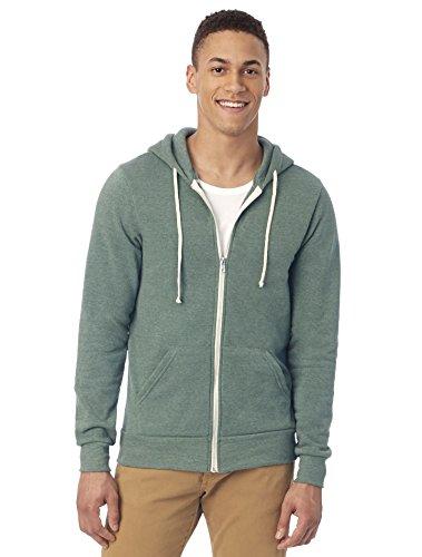 Alternative Men's Rocky Zip Hoodie Sweatshirt, Eco True/Dusty Pine, Medium