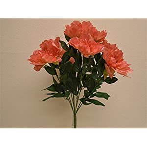 "CORAL Peony Bush 9 Artificial Silk Flowers 20"" Bouquet 1826CO 106"