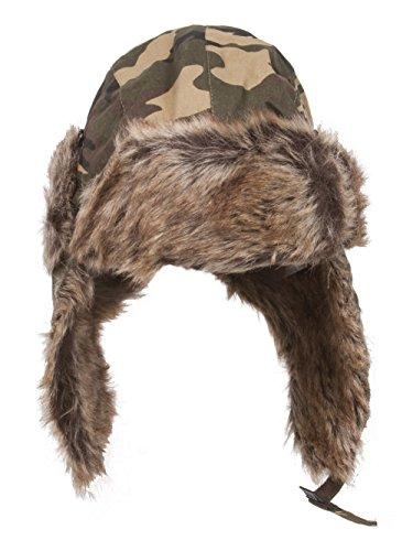 Dandy Faux Fur Trapper Winter Flight Trooper Hat Cap Forest CAMO