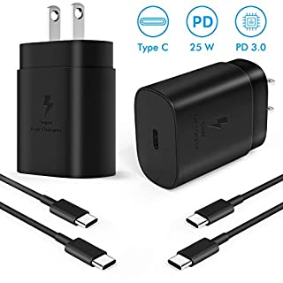 USB C Charger, 25W PD Wall Charger Compatible for Samsung Galaxy Note 10, Note 10 Plus, S10 5G, S20, S20+, S20 Ultra, 2018&2020 iPad Pro 11/12.9, Pixel 4 3 2 3A/ Pixel 2 XL 3XL 4XL with 5.0 Ft Cable