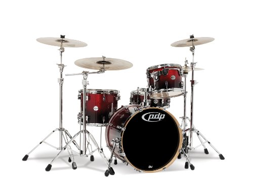 Pacific Drums PDCM2014RB 4-Piece Drumset with Chrome Hardware - Red to Black Fade - Black Pacific Tom Drum