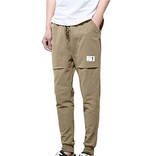 POHOK Clearance Pants for Men,Fashion Pure Color Trousers Baggy Pencil Pants Feet Casual Haren Pants ()