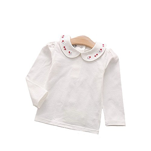 Dastan Little Girls Top and White School Uniforms with Pretty Floral Embroidered Collar Blouses Long Sleeve T Shirt 3 -11 (Girls Pretty Tops)