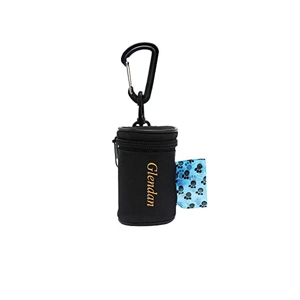 Glendan Dog Poop Bag Holder Leash Attachment,Waste Bag Dispenser – Fits Any Dogs Lead – Includes Free 1 Roll of Dog Bags (Circular)