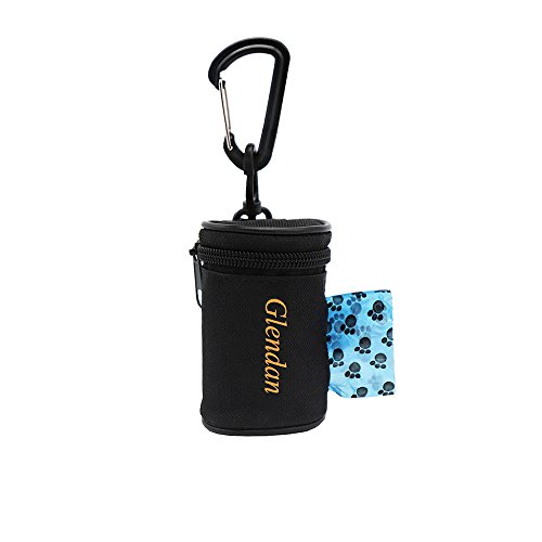 (Glendan Dog Poop Bag Holder Leash Attachment,Waste Bag Dispenser - Fits Any Dogs Lead - Includes Free 1 Roll of Dog Bags (Circular))