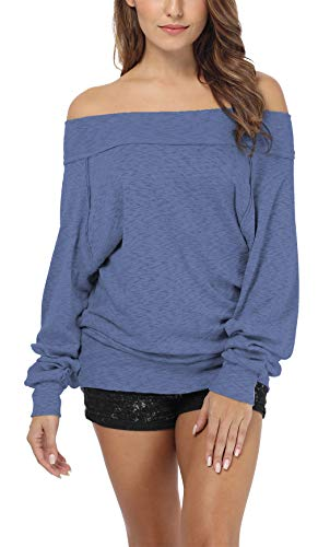iGENJUN Women's Dolman Sleeve Off The Shoulder Sweater Shirt Tops,Navy Blue,XL (Shoulder Sleeve Dolman Top)