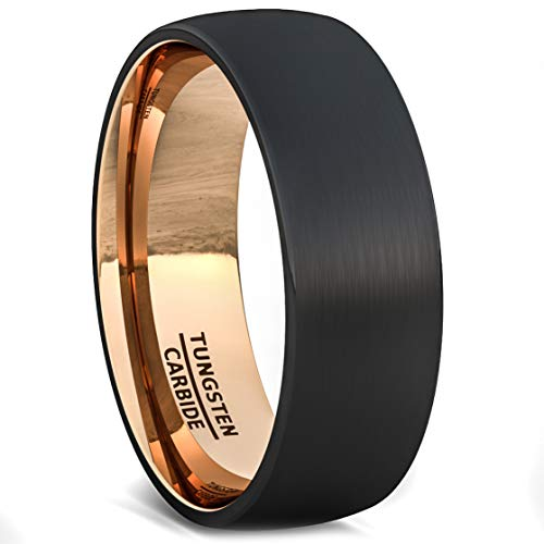 Duke Collections Mens Wedding Band Two Tone Black Rose Gold Tungsten Ring Brushed Center Dome 8mm Comfort Fit(7.5)