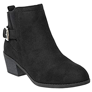 MVE Shoes Womens Stylish Forever Comfortable Buckled Pointed Toe Ankle Boot