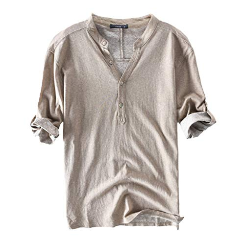 Letdown_Men tops Mens Fashion Casual Front Placket Basic Short Sleeve Henley T Shirt Cotton Breathable Summer Buttons Blouse Khaki