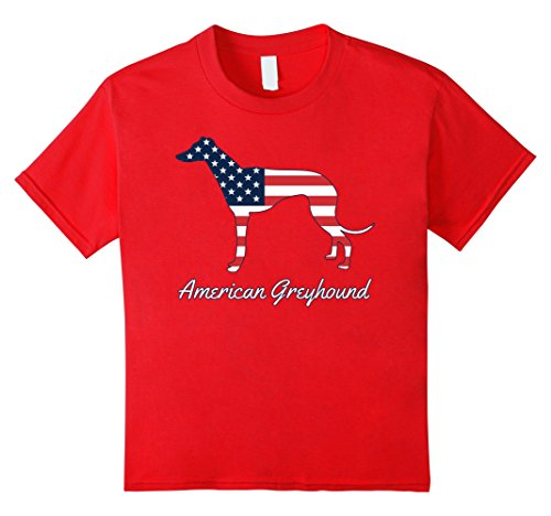 Kids Greyhound Dog T-Shirt - American Flag 4th of July 8 Red
