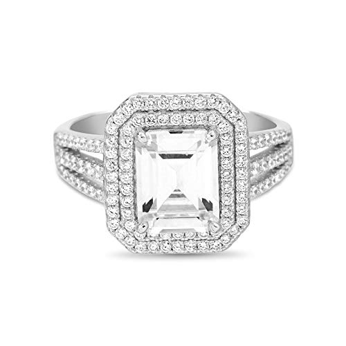 INSPIRED BY YOU. Emerald Cut Prong Set Cubic Zirconia Engagement Halo Ring for Women in Rhodium Plated 925 Sterling Silver (Size 11)