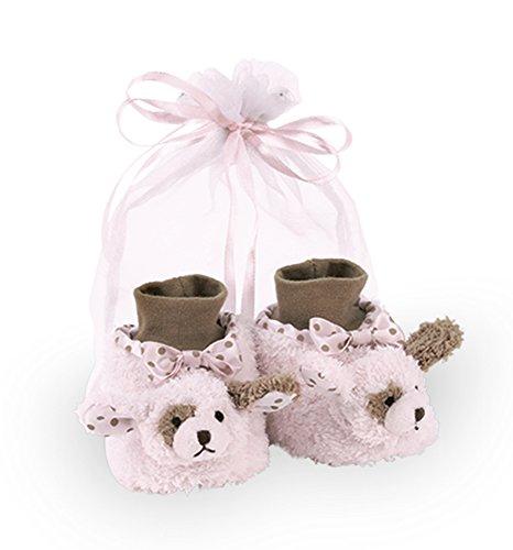 Dog Puppy Slippers - Bearington Baby Wiggles Plush Stuffed Animal Pink Puppy Dog Sock Top Slipper Booties