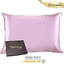 100% Silk Pillowcase for Hair Zippered Luxury 25 Momme Mulberry Silk Charmeuse Silk on Both Sides of Cover -Gift Wrapped- (Queen, Lavender)