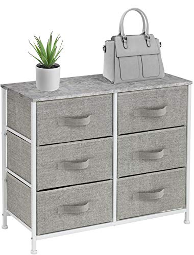 Sorbus Dresser with 6 Drawers - Furniture Storage Tower Unit for Bedroom, Hallway, Closet, Office Organization - Steel Frame, Wood Top, Easy Pull Fabric Bins (6 Drawer - Gray) (Storage And Organization Furniture)