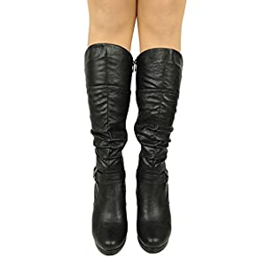 Top Moda Women's Knee Lace-up High Heel Boots Black 8