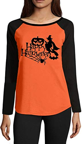 (Halloween Women's Pumpkin Witch Spider Cotton Raglan Shirt Long Sleeve Color Blocked Funny Blouses S)