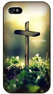 iPhone 6 Jesus Christ cross in garden - Because he lives - Light - Bible verse black plastic case / Christian verses