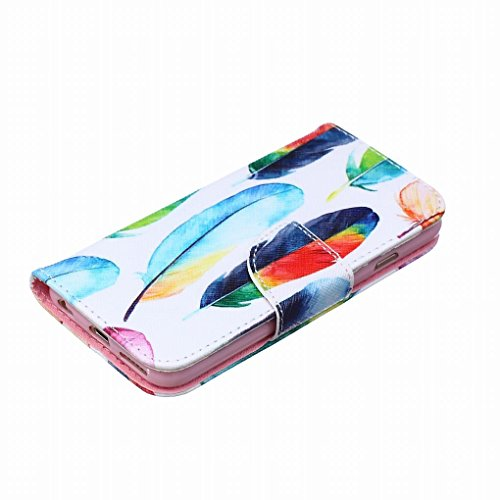 LEMORRY iphone 6 6S Flip Etui Housse, [Double Imprimé] Coloré Feather Durable Soft TPU Coque + PU Cuir Portefeuille Cards Stand Magnétique Sangle Flexible Skin Protecteur