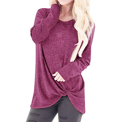 FAPIZI Cold Shoulder T-Shirt Comfy Casual Short Sleeve Twist Knot Tops Blouse Tunic T Shirts Hot Pink