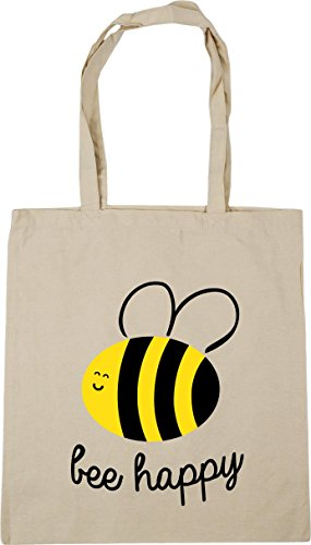 Gym 42cm Tote 10 litres x38cm Shopping Beach Bag Bee HippoWarehouse Natural Happy q40w66I