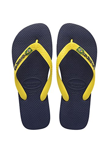 Havaianas Brasil Logo, Chanclas Unisex Adulto Multicolor (Navy Blue/Citrus Yellow 3587)