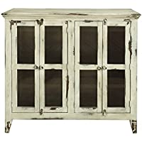 Bayshore Distressed Vanilla Finish Solid Wood 4-Door Sideboard China Cabinet