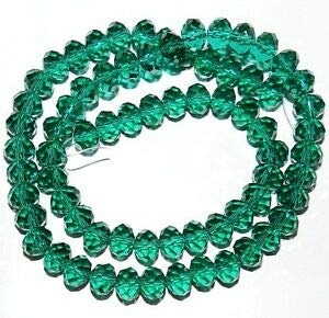 Steven_store CR434 Dark Teal Green 8mm Rondelle Faceted Cut Crystal Glass Bead 16