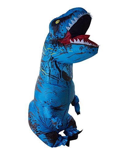 Seasonblow Adult Inflatable T-Rex Dinosaur Halloween Suit Cosplay Fantasy Costume Blue With Backpack & USB Cable