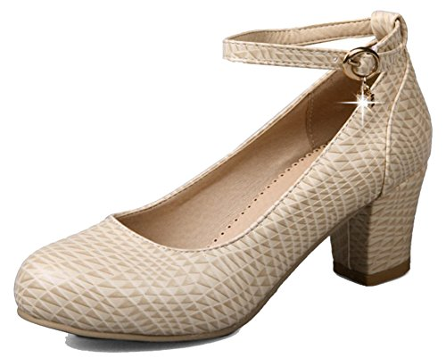 Easemax Womens Trendy Ankle Buckle Strap Round Toe Mid Chunky Heel Pumps Shoes Beige cd14ziXa