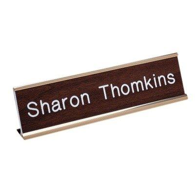 "Standard Aluminum Desk Sign, 2""x8"", 3 Colors Color: Gold"