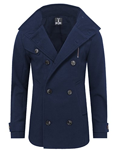 Tom's Ware Mens Stylish Fashion Classic Wool Double Breasted Pea Coat TWCC06-08-NAVY-US XL