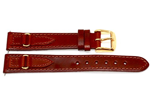 John Weitz 16mm Brown Oiled Leather Watch Band Strap W Metal - Brown Gold N