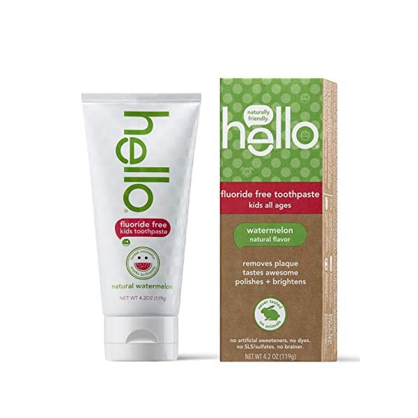 hello kids fluoride free and sls free toothpaste, natural watermelon 4.2oz by Hello Oral Care 1