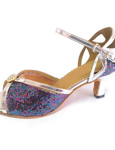 ShangYi Customized Women's Latin Sandals Customized Heel Dance Shoes with Rhinestone Buckle Multi Color GovfOP