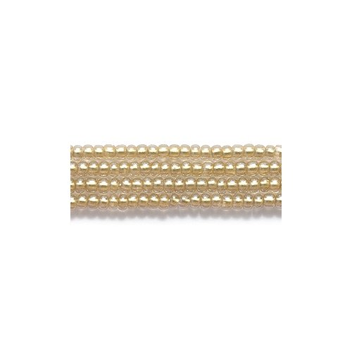 - Preciosa Ornela Czech Seed Bead, Metallic Light Gold Lined Crystal Luster, Size 11/0