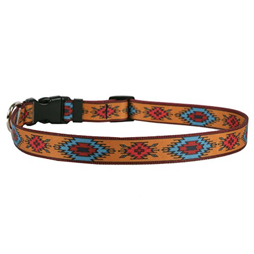 "Yellow Dog Design Indian Spirit Orange Dog Collar 3/4"" Wide and Fits Neck 10 to 14"", Small"